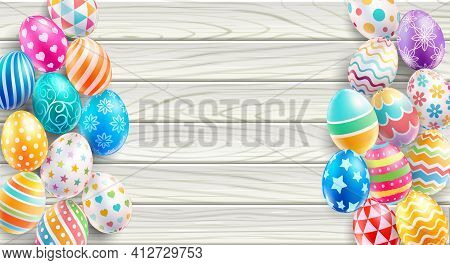 Happy Easter Day Easter Eggs On White Wood Color Background. Vector Illustrations.