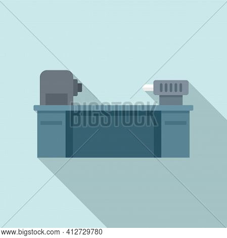 Cutter Lathe Icon. Flat Illustration Of Cutter Lathe Vector Icon For Web Design