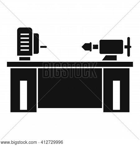 Lathe Machine Icon. Simple Illustration Of Lathe Machine Vector Icon For Web Design Isolated On Whit