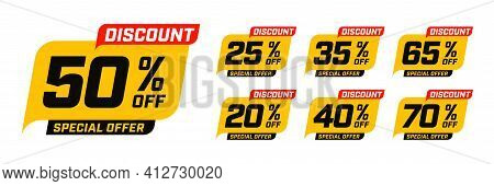 Special Offer Discount With Different Value Percent Off. 50, 20, 40, 70, 25, 35, 65 Percentage Price