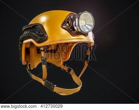 Yellow mountain rescuer hard hat with headlight on black background