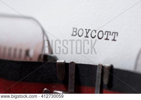 Boycott word written with a typewriter.