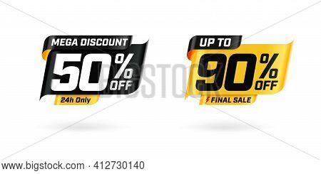 Sale Marketing Banner With Price Cut Out And Sell-off. Mega Discount 24h Only 50 Percent And Up To 9