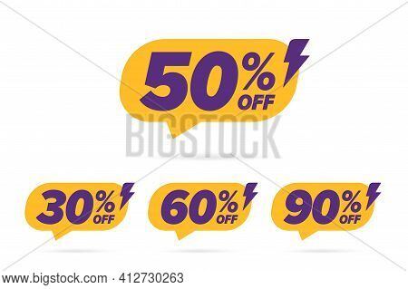Price Off Selling Banner With Different Percentage Value. Flat 50, 30, 60, 90 Sale Speech Bubble Lab