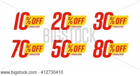 Special Offer Discount Label With Different Sale Percentage. 10, 20, 30, 70, 50 Percent Off Price Re
