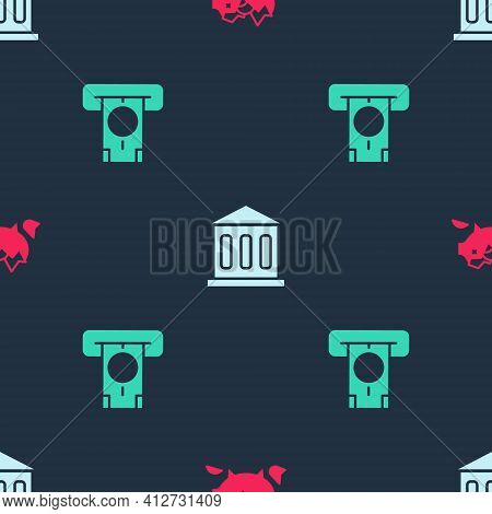 Set Broken Piggy Bank, Bank Building And Atm And Money On Seamless Pattern. Vector