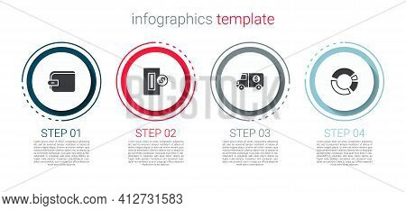 Set Wallet, Inserting Coin, Armored Truck And Pie Chart Infographic. Business Infographic Template.