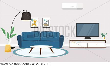 Vector Banner With Modern Living Room Interior. Design Of A Cozy Room With A Sofa, Tv Stand, Floor L