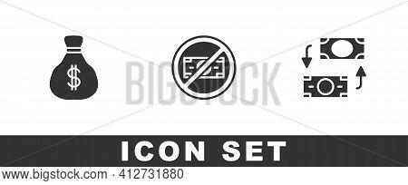 Set Money Bag, No Money And Exchange Icon. Vector