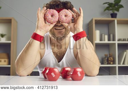 Funny Chubby Man Forgets About Fitness Workout And Fools Around With Delicious Donuts