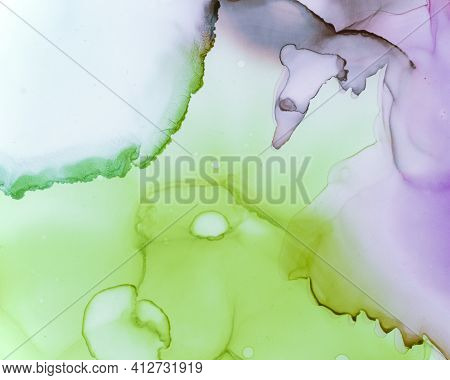 Ethereal Paint Texture. Liquid Ink Wave Background. Lilac Abstract Oil Splash. Contemporary Flow Des