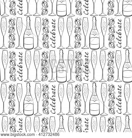 Champagne And Strawberry Celebrate Text Vector Seamless Pattern Background. Script Lettering, Fizzin