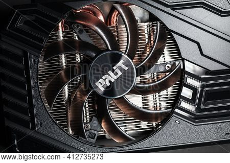 St.petersburg, Russia - February 2, 2021: Palit Gpu Cooler, Close-up Photo. This Fan Is Mounted On A