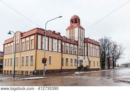 Kotka, Finland - December 14, 2014: Kotka Lyceum, A High School Operates In The City Center. It Was