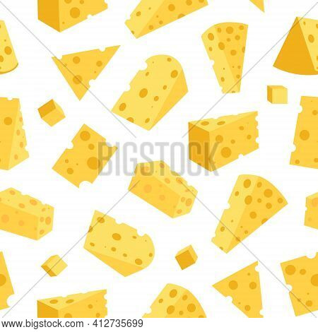 Cheese Seamless Pattern. Pieces Of Yellow Cheese, Isolated On A White Background. Pieces Of Cheese O