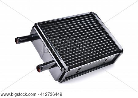 Car Heating And Air Conditioning System Radiator, Car Stove Radiator, White Background Close-up, Sel