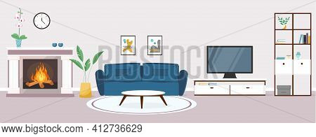 Modern Living Room Interior. Vector Banner. Design Of A Cozy Room With A Sofa, Tv, Furniture, Firepl