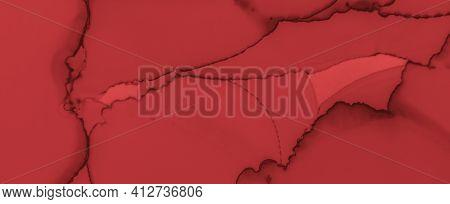 Liquid Blood Background. Red Fluid Wallpaper. Halloween Spatter Black. Watercolour Murder Pattern. B