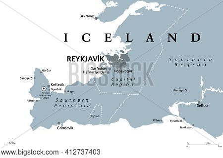 Iceland, Capital Region And Southern Peninsula, Gray Political Map. Reykjavik And Vicinity, With Rey