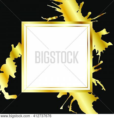Golden Shiny Glowing Paint Splatter Frame Isolated Over Black Background. Gold Metal Luxury Blank Sq