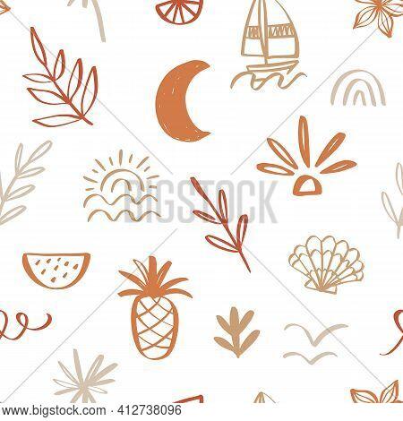 Tropical Beach Summer Seamless Pattern. Hawaiian Exotic Background