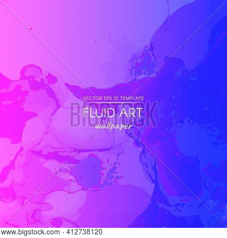 Abstract Fluid. Pink Blue Dynamic Motion. Creative Flow Banner. Alcohol Inks Paint Template. Digital