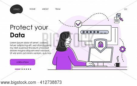 Privacy Policy, Network Security, People Character, Data Security. Data Protection For Coding, Progr