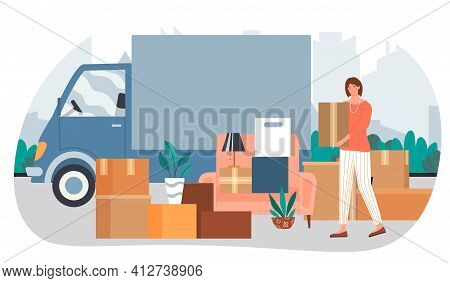 Relocating To New Apartment, Woman Standing Near Packing Belongings. House Moving Concepts. Flat Abs