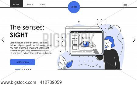 Patient Checks Sight With Spectacles Technology. Website, Web Page, Landing Page Template. Ophthalmo