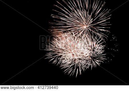 Luxury Fireworks Event Sky Show With Orange Big Bang Stars. Premium Entertainment Magic Star Firewor