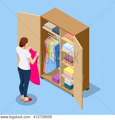 Isometric Large Wardrobe With Things. Woman Choosing Outfit From Large Wardrobe Closet With Clothes