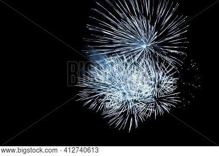 Luxury Fireworks Event Sky Show With Blue Big Bang Stars. Premium Entertainment Magic Star Firework