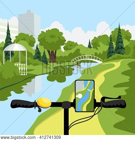 Bicycle Handlebar. Plotting A Route On Your Smartphone. Bike Ride In The Park