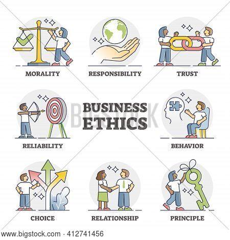 Business Ethics As Company Principles And Moral Honesty Set Outline Diagram