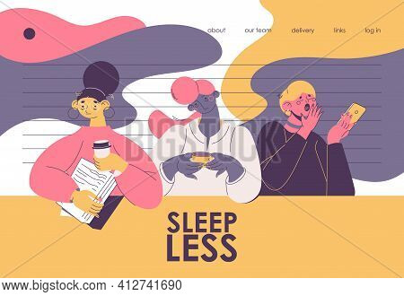 Sleepless Women With Coffee And Papers. Landing Page Dedicated To Insomnia And Office Workers Who Ha