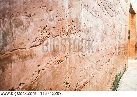 Abstract Nature Soil Patterned Layer Of Clay Soil For The Background.