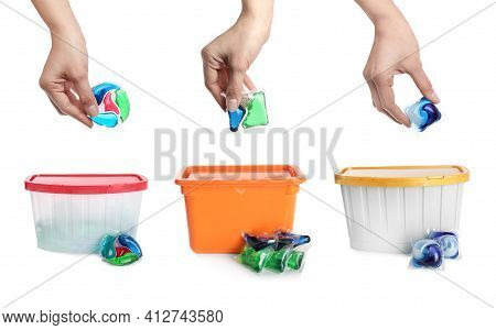 Women With Laundry Capsules On White Background, Closeup. Detergent Pods