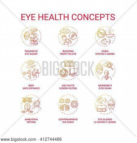 Eye Health Concept Icons Set. Traumatic Eye Injury. Bleeding From Body Organs Damage. Use Matte Scre