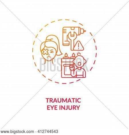 Traumatic Eye Injury Concept Icon. Emergency Eye Exam Reasons. Dealing With Eyes Problems After Dama