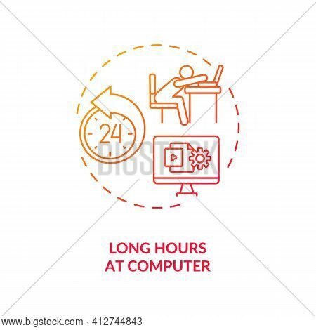 Long Hours At Computer Concept Icon. Dry Eye Causes. Damaging Eyes Due To Lack Of Blinking Movement