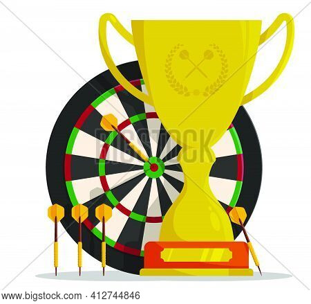 Prize Sports Cup With Darts Board Target And Dart Arrows In Cartoon Style For Competitions. Award Tr