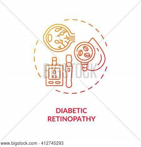 Diabetic Retinopathy Concept Icon. Adults Eyes Diseases. Damage Occurs To Retina And Eyeball Due To