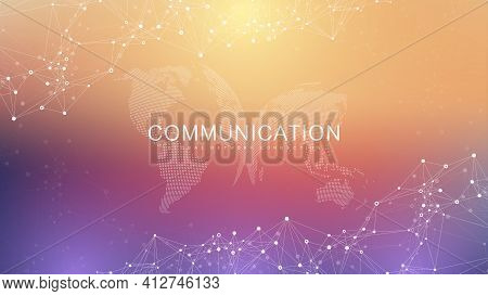 Global Network Connection. Social Network Communication In The Global Business. World Map Point And