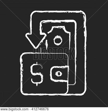 Cashback Chalk White Icon On Black Background. Cashback Reward Program. Financial Transactions. Bene