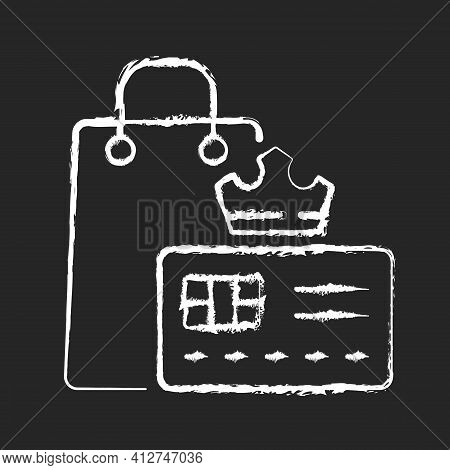 Vip Membership Chalk White Icon On Black Background. Loyalty Card Program. Discount Offers And Sell