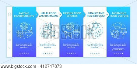 Food Culture In Religions Onboarding Vector Template. Fasting In Christianity. Judaism And Kosher Me