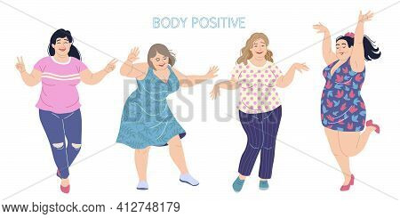 Happy Dancing Women.  Plus Size Girls Isolated On White Background. Body Positivity Concept. Fun Par