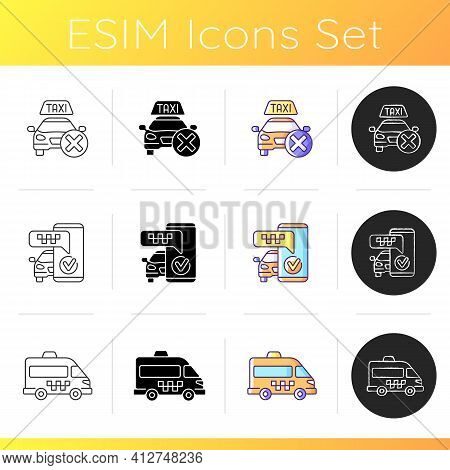 Modern Taxi Service Icons Set. Safe Ride. Long Distance Trips. Shuttle Rides . Information From Taxi