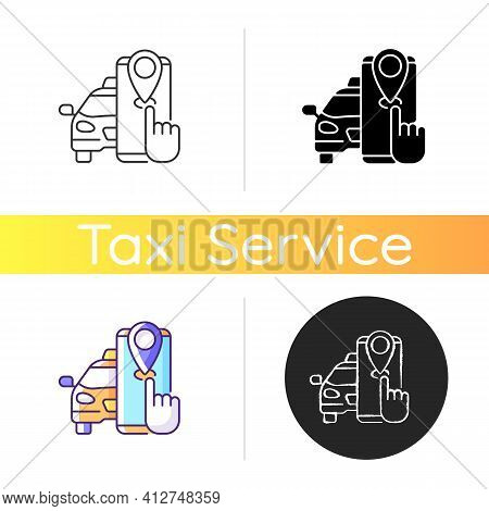 Taxi Tracker Icon. Modern Taxi. Convenient And Fast City Transport. Modern Taxi Service. Cab Trackin