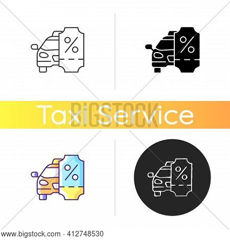 Taxi Discount Program Icon. Car Service. Cab Special Offer. Cheap Taxi Service. Promotion, Special C